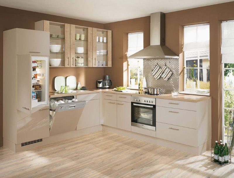 Встроенная техника в интерьере кухни г-образной планировки
