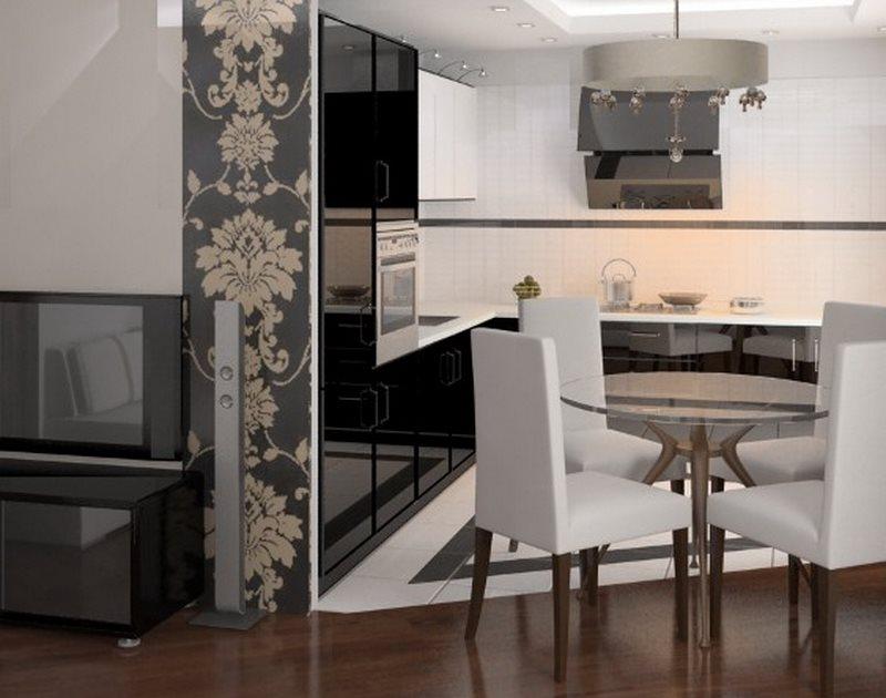 Разделение кухни и гостиной с помощью напольного покрытия