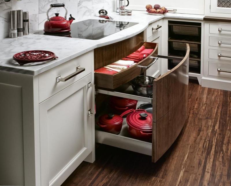 Выдвижной шкаф кухонного гарнитура для компактной кухни