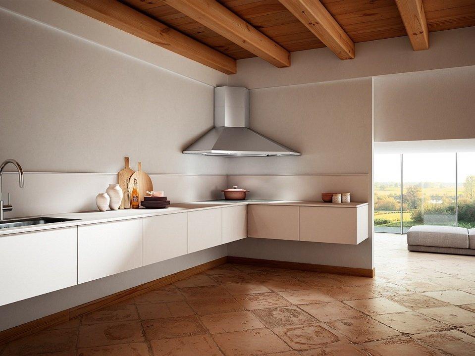 Угловая вытяжка на кухне без подвесных шкафчиков