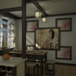 Декор стены кухни картинами в рамках