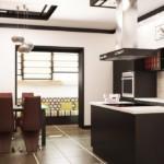 Темная мебель в кухне восточного стиля