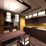 Многоуровневый потолок в кухне городской квартиры