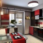 Акценты красного в кухне с балконом