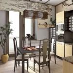 Г-образная кухня с обеденным столом