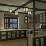 Светильники из рисовой бумаги на потолке кухни