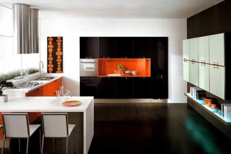 Интерьер современной кухни в контрастных цветах