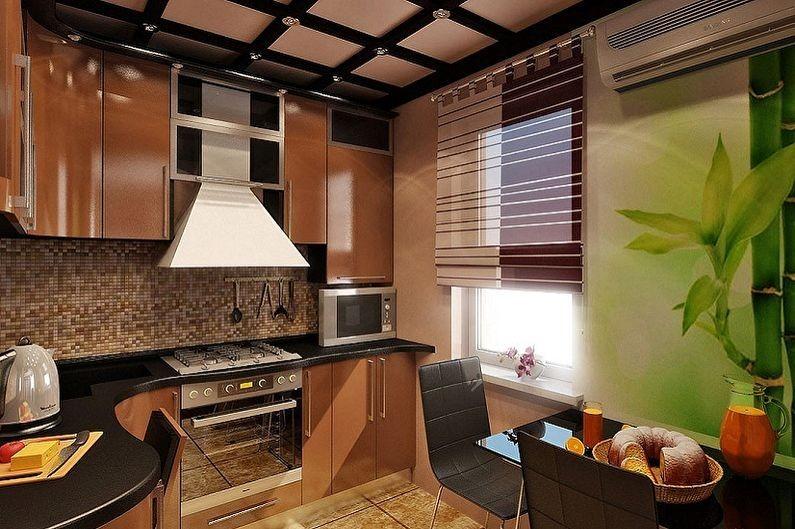 Дизайн коричневой кухни в японском стиле