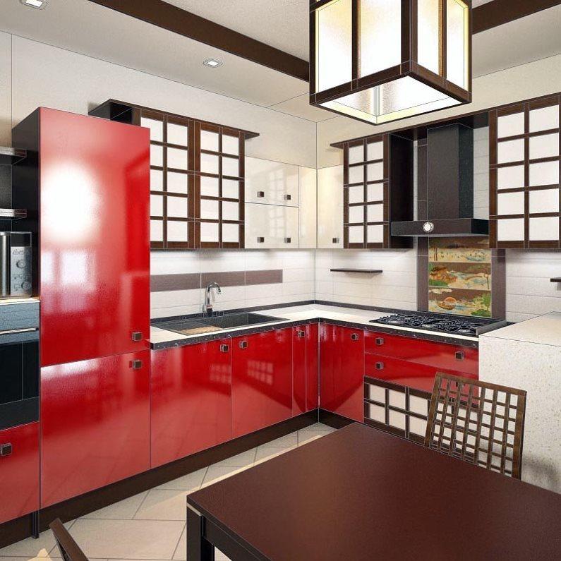 Красный гарнитур в кухне японского стиля