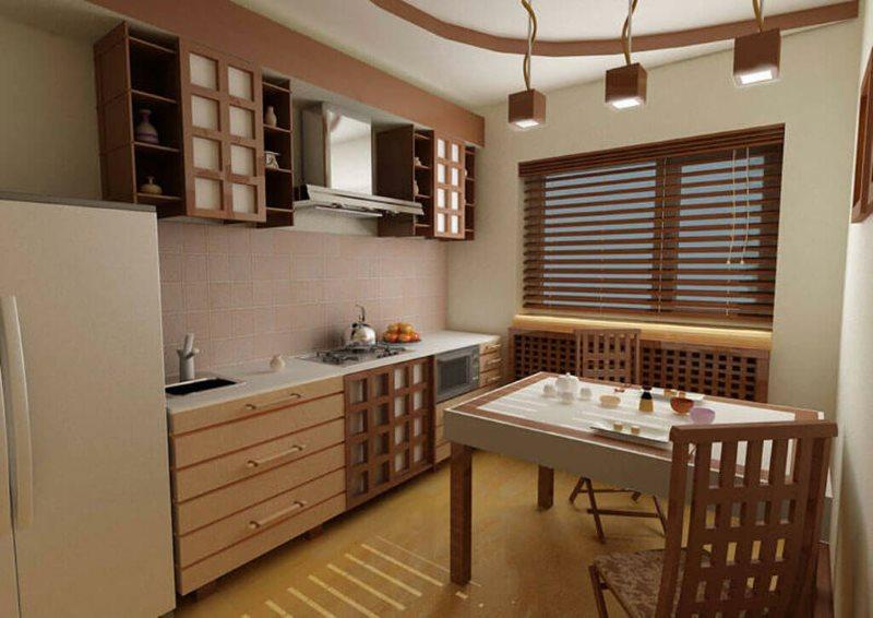 Дизайн кухни в японском стиле с линейным гарнитуром