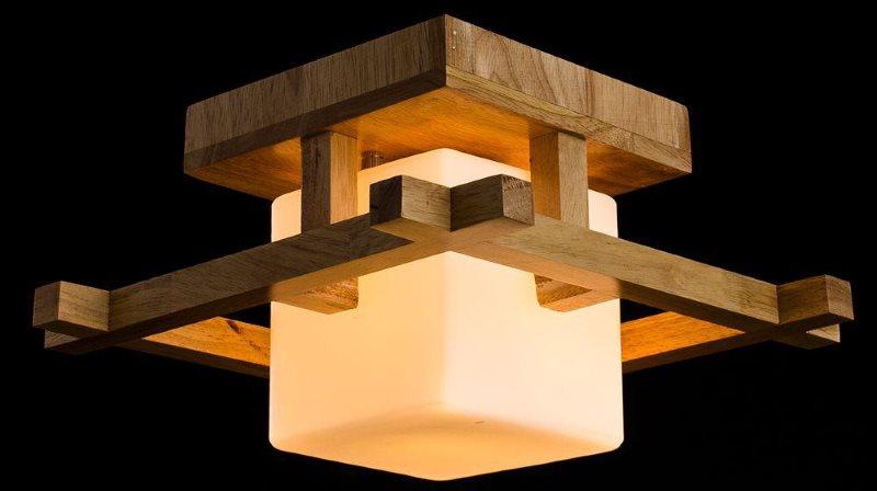 Деревянная люстра для кухни в японском стиле