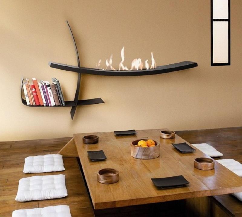 Оформление стены над столом в японском стиле