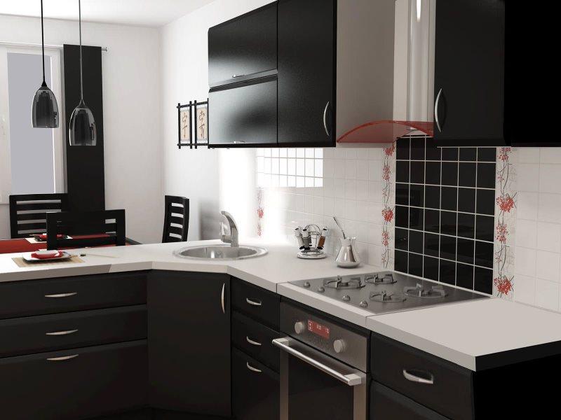 Дизайн кухни в японском стиле с черной мебелью