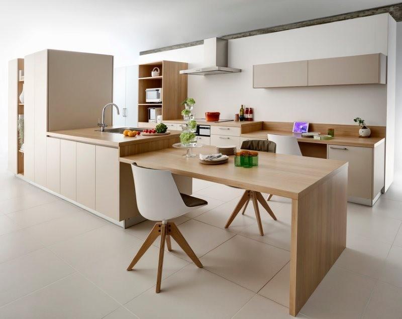 Дизайн кухни в японском стиле с островной планировкой