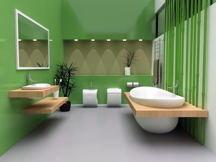 Ярко-зеленые стены в ванной частного дома