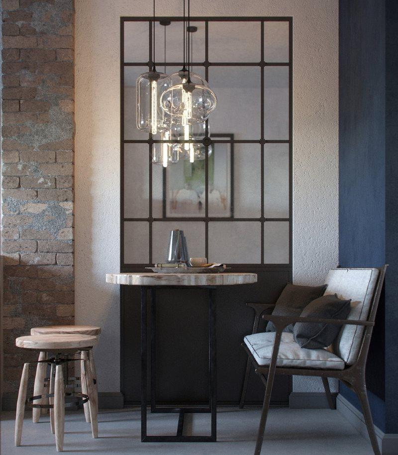Винтажный светильник на кухне с зеркальной перегородкой