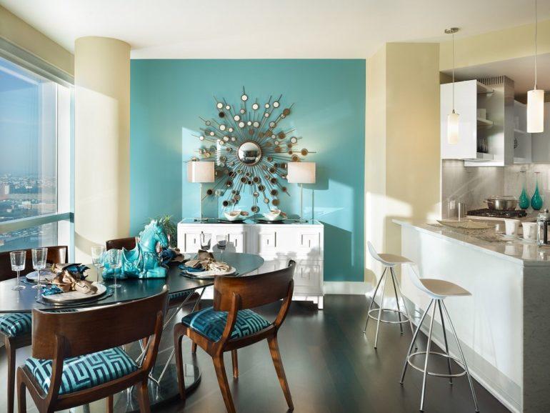 Зонирование цветом кухни-гостиной с панорамным окном