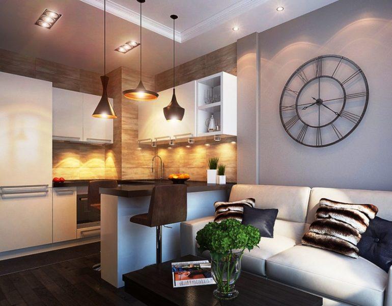Пример зонирование кухни-гостиной светом и барной стойкой