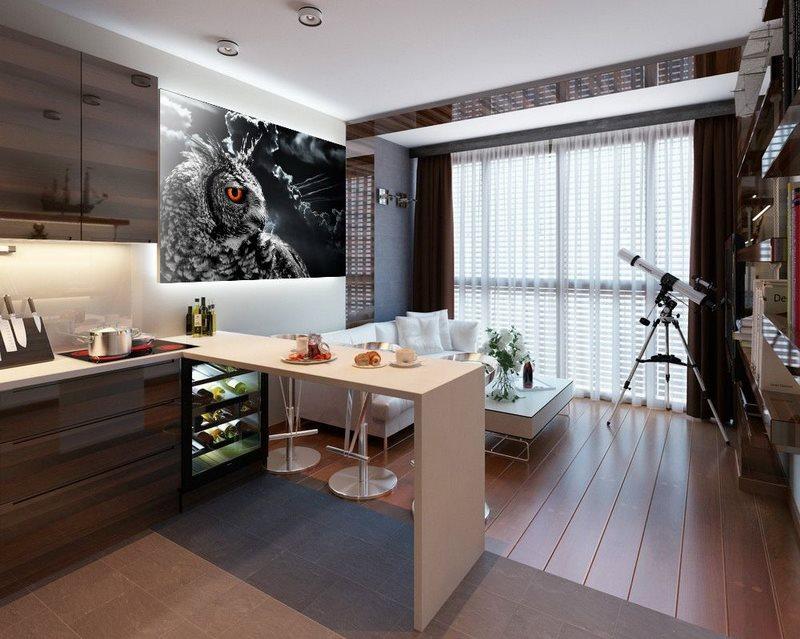 Пример зонирования кухни-гостиной напольным покрытием