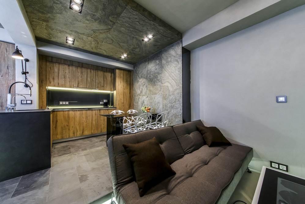 Зонирование зоны кухни в квартире-студии