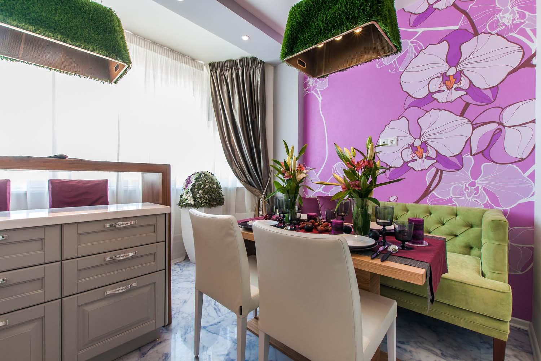 стиль фото кухни комнаты дизайн с яркими обоями это просто