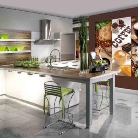 3д фотообои для кухни фото идеи