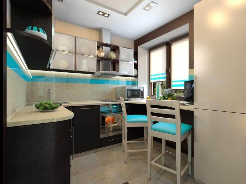 дизайн малогабаритной кухни стол подоконник