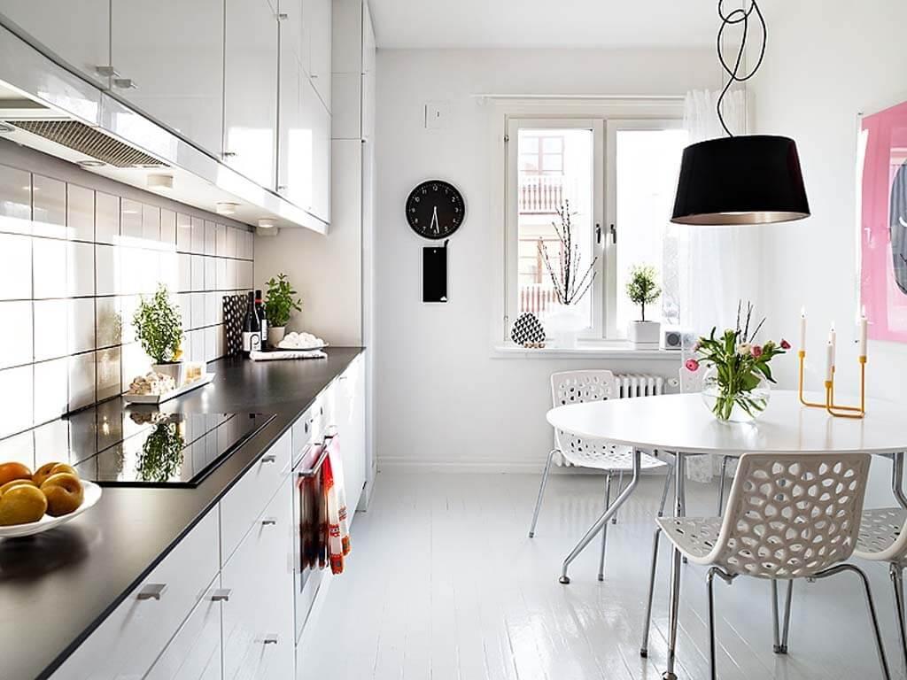 линейный дизайн малогабаритной кухни
