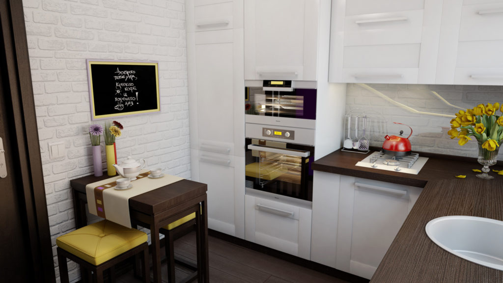 дизайн малогабаритной кухни белый гарнитур