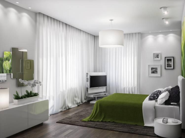 спальня с двумя окнами декор