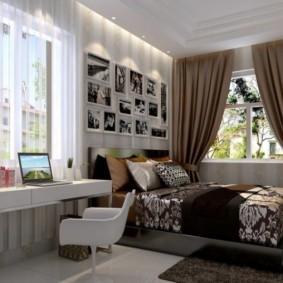 спальня с двумя окнами дизайн идеи
