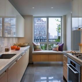 дизайн малогабаритной кухни с диваном