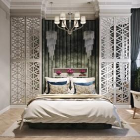 спальня в стиле неоклассика акцентная стена