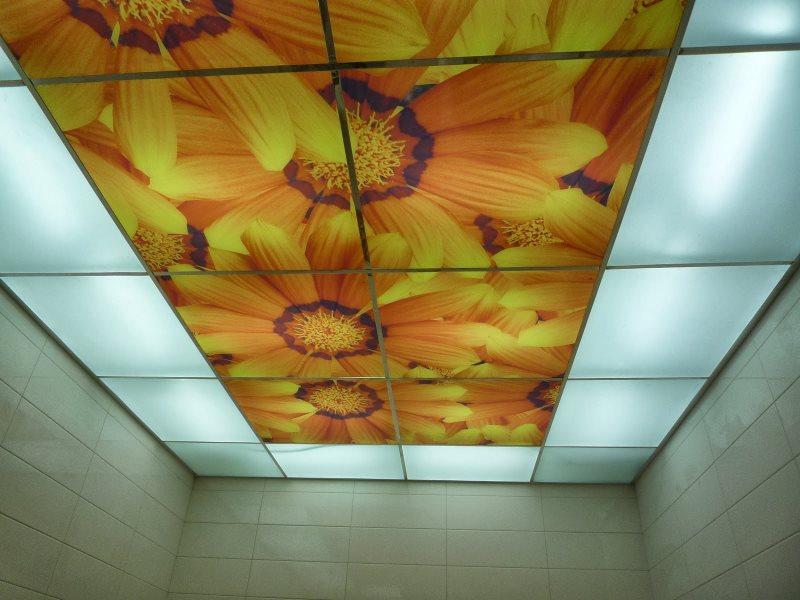 Потолок из акриловых панелей со встроенной подсветкой