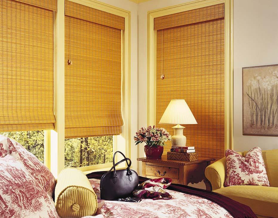 бамбуковые жалюзи в спальне
