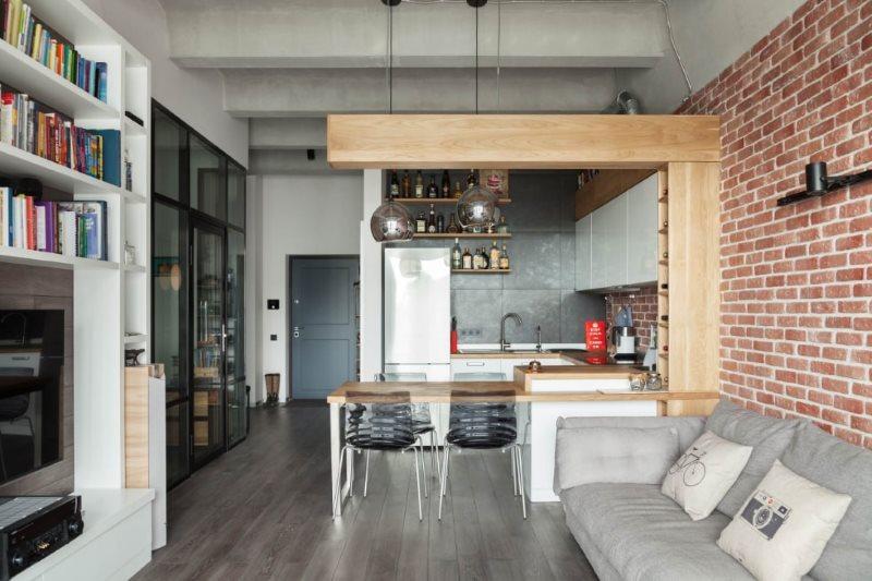 Барная стойка из массива дерева в кухне-гостиной лофт стиля