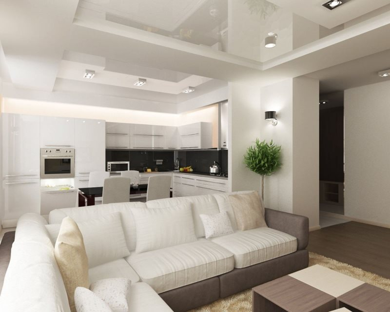 Кухня гостиная в стиле хай-тек с белым потолком
