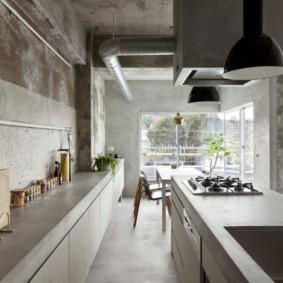 бюджетный интерьер кухни бетонная поверхность