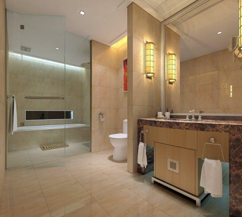 Настенный бра рядом с большим зеркалом в ванной