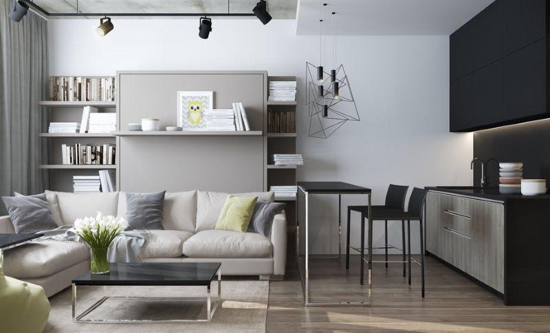 Черные подвесные шкафы кухонного гарнитура в современном стиле