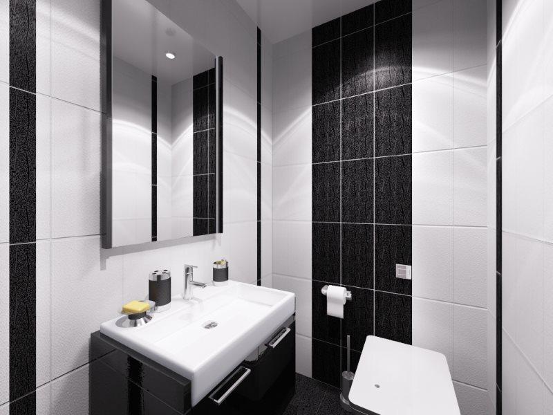Черно-белый интерьер маленького туалета