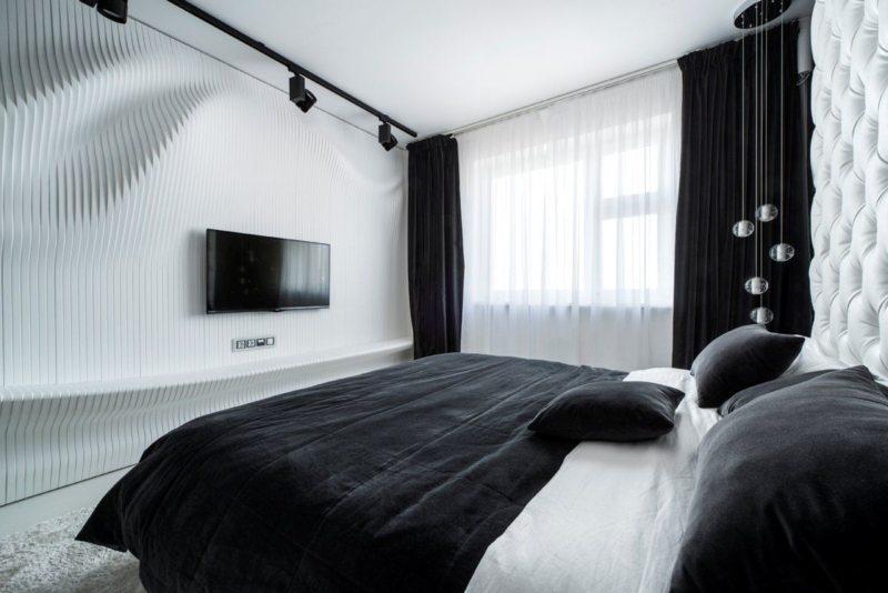черно белая спальня дизайн идеи