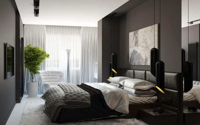 черно белая спальня фото дизайна