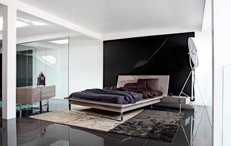 черно белая спальня фото интерьера