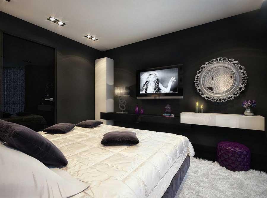 черно белая спальня идеи интерьера