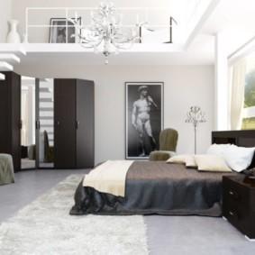 черно белая спальня интерьер