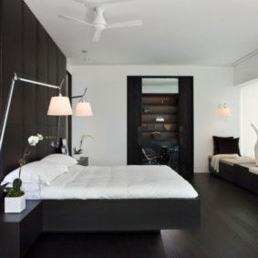 черно белая спальня виды фото
