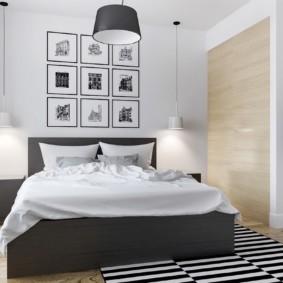 черно белая спальня декор фото