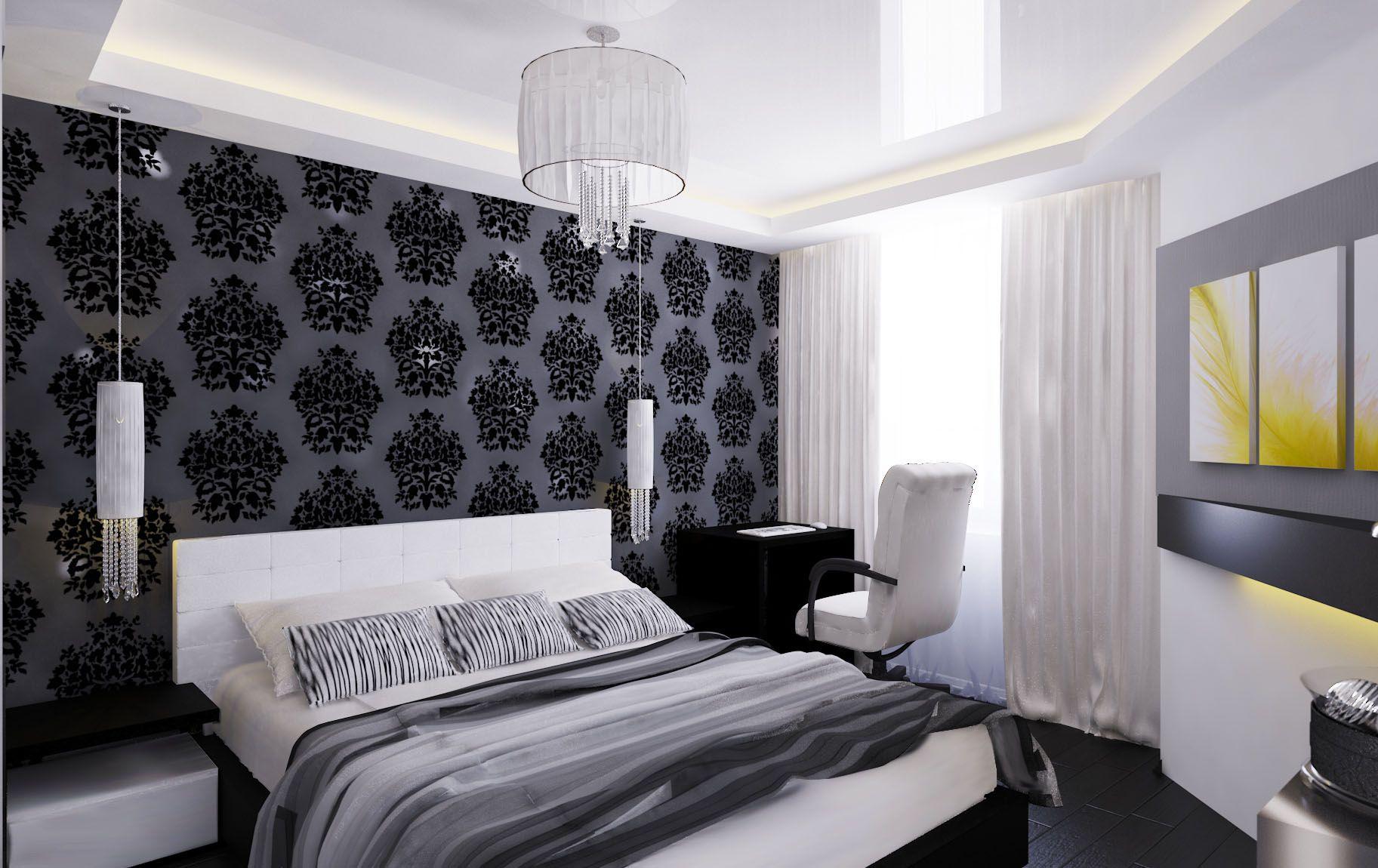 черно белая спальня декор