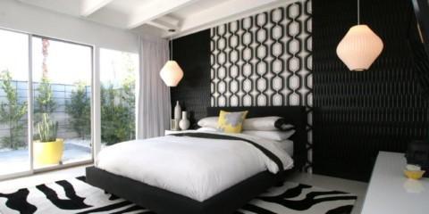 черно белая спальня дизайн